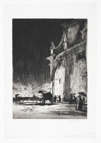 Muirhead Bone (British, 1876-1953) Rainy Night in Rome Drypoint, 1913-14, a rich impression with burr of the sixth state of ten, on simili-japan, signed in pencil, one of 16 proofs in this state, with wide margins, 303 x 257mm (12 x 10 1/8in)(PL)(unframed)
