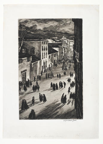 Muirhead Bone (British, 1876-1953) A Spanish Good Friday (Ronda) Drypoint, 1925, a rich, velvety impression, on simili-Japan, signed in pencil, annotated by Bone 'xxv' crossed out and replaced by 'xviii' in the lower left-hand margin, from the edition of 160 in 29 states, the full sheet, 425 x 307mm (16 3/4 x 12in) (SH) (unframed)  The image depicts the festival at the culmination of Passion Week. The traditional mourning procession proceeds through the streets of Ronda as the crowd carrying banners with the crucified Christ approaches. Shadows cast by dark figures in pointed canonical hats add an eerie tone to the composition. A Spanish Good Friday is one of the iconic images ofthe British Etching Revival.