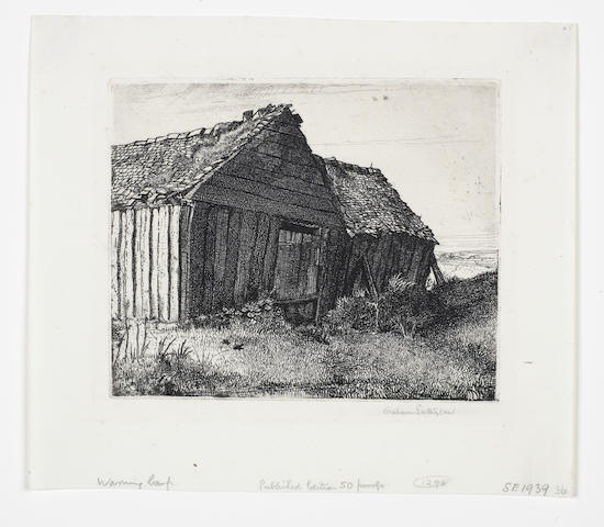 Graham Sutherland O.M. (British, 1903-1980) Warning Camp Etching, 1924, on simili-japan, signed in pencil, from the second state of 56, printed by the artist, published by Twenty-One Gallery, London,  with margins, 128 x 154mm (5 x 6in) (SH) (unframed)