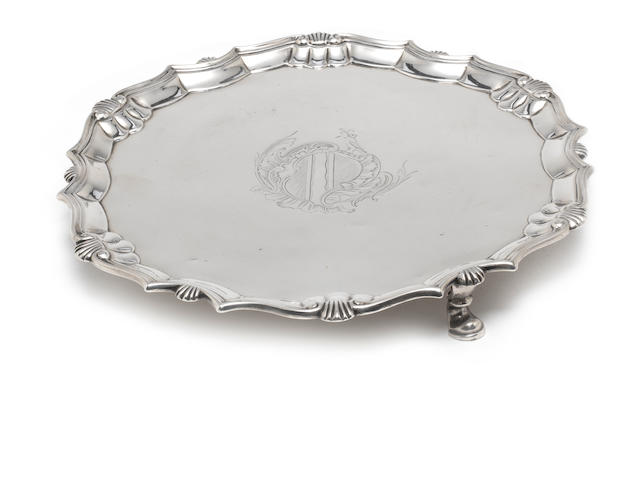 A George II   silver salver by Robert Abercromby, London 1740