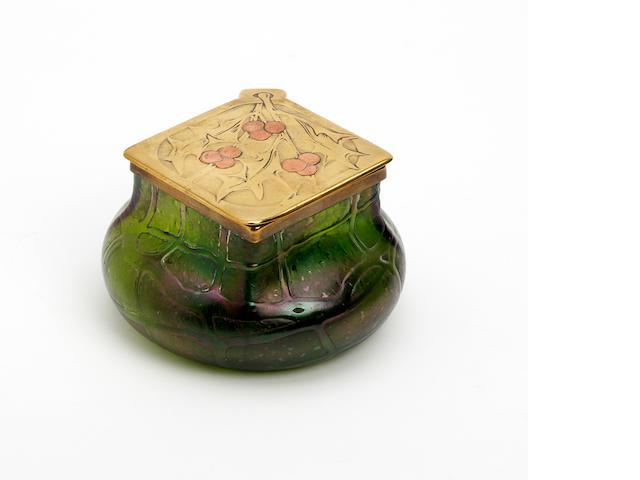 A Loetz style irridescent 'Pampas' glass inkwell Circa 1910