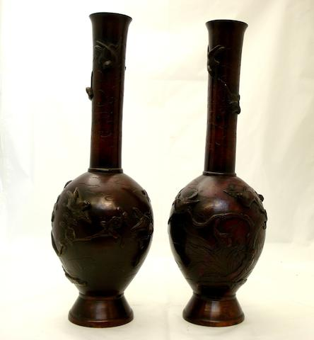 A pair of bronze bottle vases Meiji
