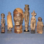 A collection of African carvings tallest 31cm high 6