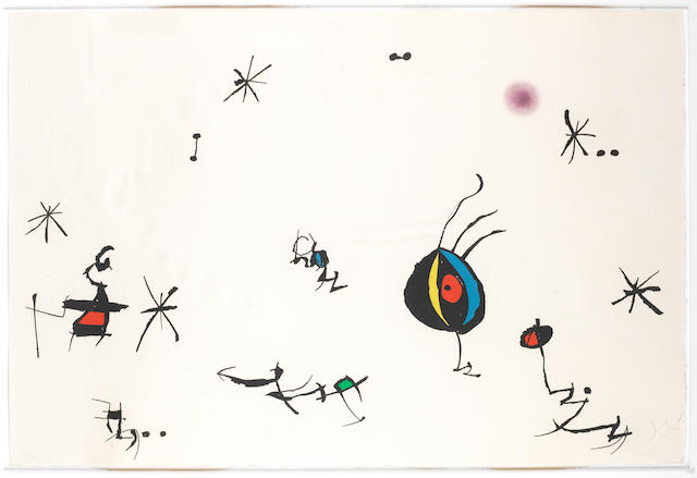 Joan Miró (Spanish, 1893-1983) Barcelona, Plate 10 Etching with aquatint printed in colours, 1972-1973, on Guarro paper, signed and numbered 45/50 in pencil, printed by J.J. Torralba, Barcelona, published by Sala Gaspar, Barcelona, with full margins, 695 x 1040mm (21 3/8 X 29 1/2in)(SH)