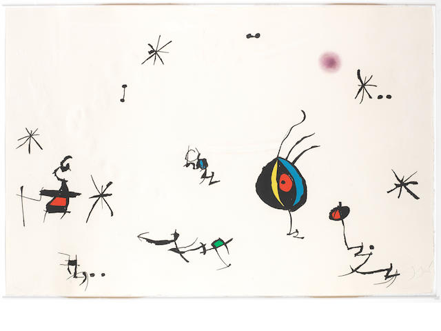 Joan Miró (Spanish, 1893-1983) Barcelona, plate 10 Etching with aquatint and carborundum? printed in colours, 1972-1973, on Guarro paper, signed and numbered 45/50 in pencil, printed by J.J. Torralba, Barcelona, published by Sala Gaspar, Barcelona, with full margins?, 695 x 1040 mm (21 3/8 X 29 1/2in)(SH)