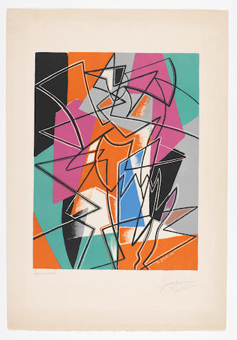 Gino Severini (Italian, 1883-1966) Pas de Deux Lithograph printed in colours, 1952, on Arches, signed and inscribed 'Epreuve d'Artiste' in pencil, a proof aside from the edition of 200, printed by Michael Cassé, Paris, published by La Guilde de la Gravure, Paris, 560 x 380mm (22 x 14 7/8in)(SH) unframed