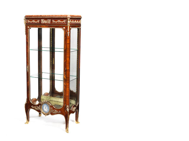 A French late 19th/early 20th century ormolu jasperware-mounted vitrine,