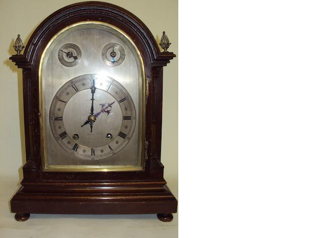A late 19th century mahogany mantel clock