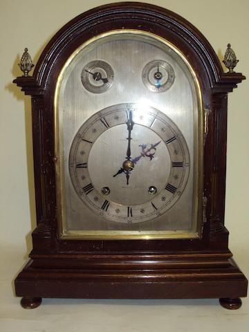 A late 19th century mahogany mantel clock