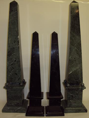 Two pairs of 20th century marble obelisks