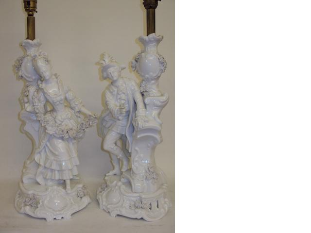A pair of white ground Meissen-style table lamp bases
