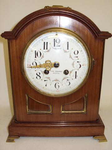 An early 20th century mahogany cased mantel clock
