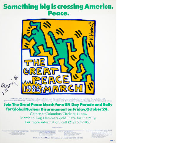 Keith Haring (1958-1990) The Great Peace March Offset lithograph printed in colours, 1986, on thin wove, signed and dated in black ink, published by the Great Peace March, 1986, with full margins, 527 x 438mm (20 3/4 x 17 1/4in) (SH) (unframed)
