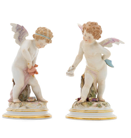 A pair of 19th Century Meissen porcelain cherubs