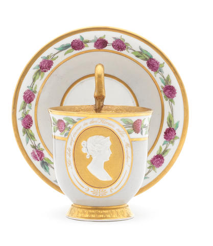 A Berlin cup and saucer with a portrait of Queen Louise of Prussia