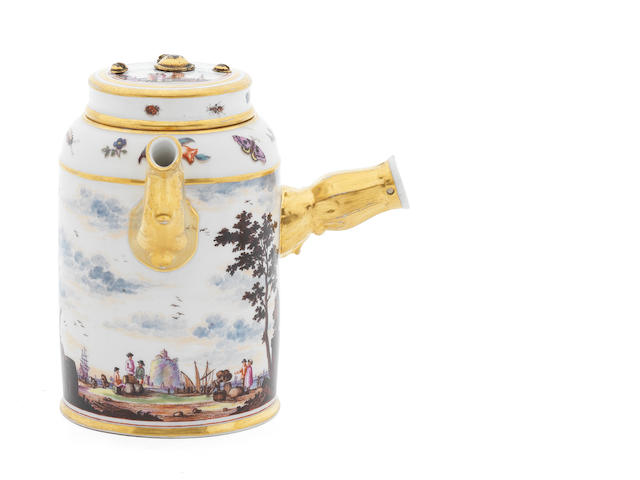 A Meissen cylindrical chocolate pot and cover