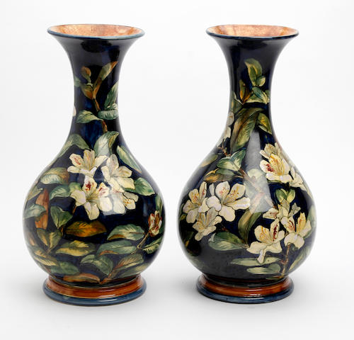 A pair of Doulton Faience vases  Dated 1877