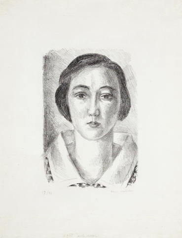 Henri Matisse (French, 1869-1954) Jeune Fille en Robe Fleurie au Col d'Organdi Lithograph, 1923, on chine, signed and numbered 17/50 in pencil, with full margins, 380 x 287mm (15 x 11 1/4in)(SH)(unframed)