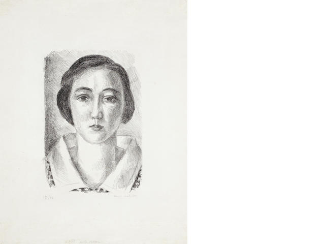 Henri Matisse (French, 1869-1954) Jeune Fille en Robe Fleurie au Col d'Organdi Lithograph, 1923, on Chine paper, signed and numbered 17/50 in pencil, with full margins, 380 x 287mm (15 x 11 1/4in) (SH) (unframed)