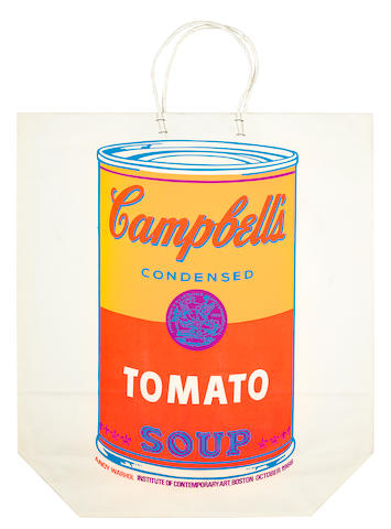 Andy Warhol (American, 1928-1987) Campbell's Soup Can (Tomato) Screenprint, 1966, on shopping bag, from an unknown edition size, published by the Institute of Contemporary Art, Boston, 490 x 432mm (19 1/4 x 17in) (overall) (unframed)