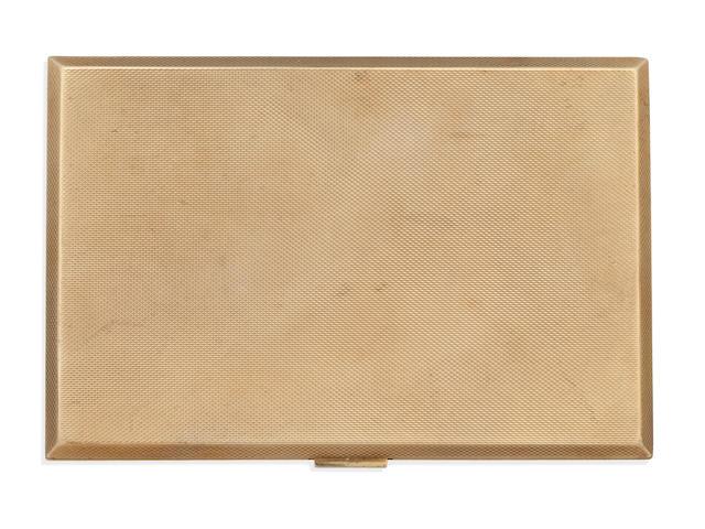 A 9ct gold rectangular engine-turned cigarette case