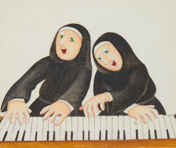 Beryl Cook (British, 1926-2008) The piano playing nuns