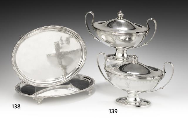 A pair of George III silver two-handled sauce tureens and covers by Henry Greenway, London 1782