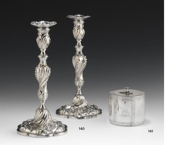 A pair of George III cast silver candlesticks by Francis Butty and Nicholas Dumee, London 1767  (2)