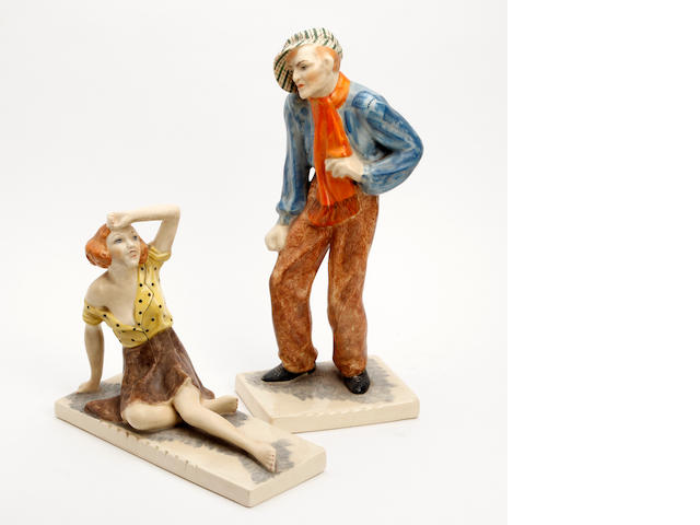 Two Goldspencer pottery figures, painted by Hermine Rauch Circa 1930