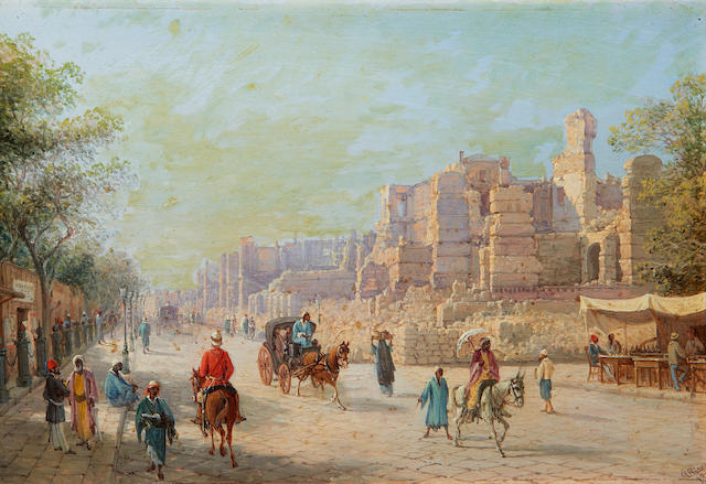 Giancinto Gianni (Italian, late 19th Century) A street scene in Alexandria after the bombardment by the British in 1882
