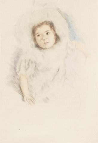 Mary Cassatt (American, 1845-1926) Margot Wearing a Bonnet (No.1) Drypoint with hand colouring, c.1902, on wove, with wide margins, 233 x 165mm (9 1/4 x 6 1/2in)(PL)
