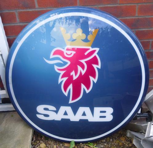 Two Saab showroom signs,