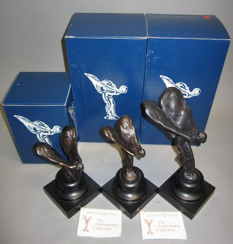 Three Spirit of Ecstasy 'The Anniversary Collection' mascots,