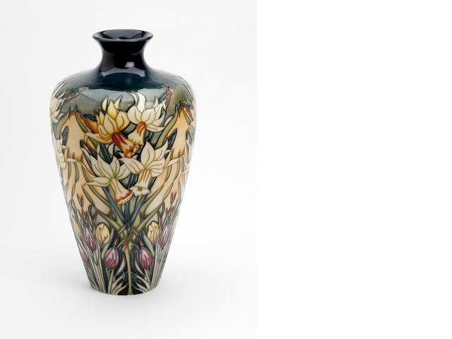 A Moorcroft limited edition 'Ode to Spring' pattern vase, painted by Rachel Bishop  Dated 2002