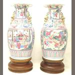 A pair of Canton export famille rose vases 19th century
