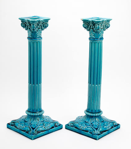 A large pair of Burmantofts faience candlesticks Circa 1900