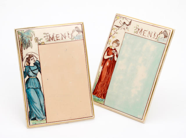 A pair of James Macintyre & Co. menu holders  Circa 1890