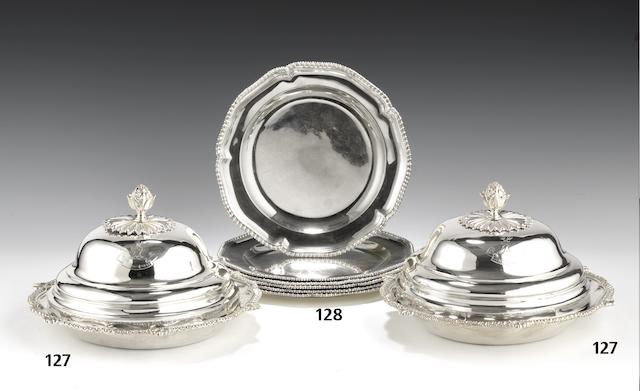 Two Victorian silver entrée dishes and covers by James Charles Edington, London 1843, each base incuse stamped Green & Ward  (2)