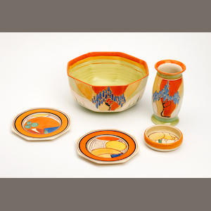 A collection of Clarice Cliff items  Circa 1930-33