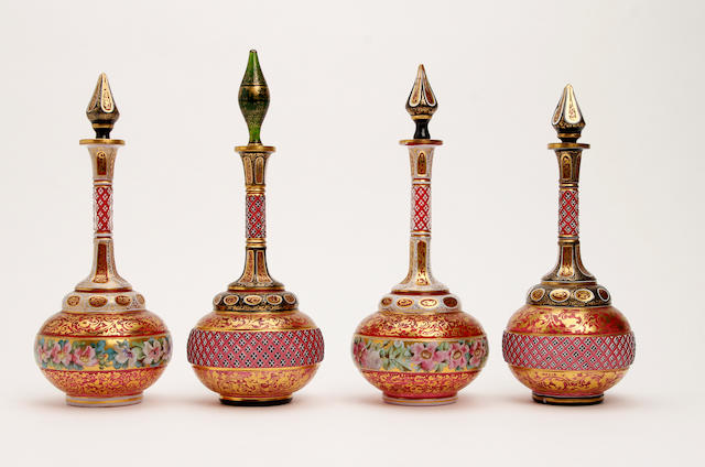 Two pairs of Bohemian red flashed vases and stoppers  Circa 1900