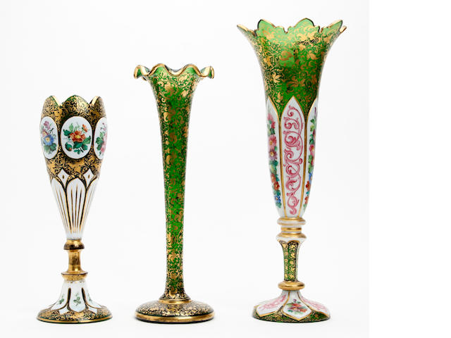 A collection of three bohemian glass vases Circa 1880-1900
