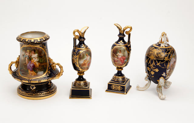A collection of Berlin and Vienna style porcelain items Late 19th Century