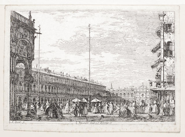 Antonio Canaletto (Italian, 1697-1768) Le Procuratie Niove e San Ziminian V Etching, the first state of two (A), c.1740, with 'A Canal f.' and the title under the image, on thick laid, with small margins, 144 x 210mm (5 5/8 x 8 1/4in)(PL), together with another by Bernardo Bellotto of a bridge, on laid, with small margins, 145 x 203mm (5 3/4 x 8in)(PL)  2