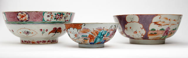 A collection of three Chinese famille rose export porcelain bowls  Circa 1760-1820
