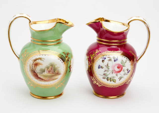 A pair of Coalport jugs Circa 1840
