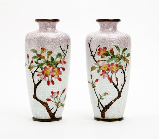 A pair of Japanese ginbari enamel cloisonné  vases, signed Ota Circa 1910