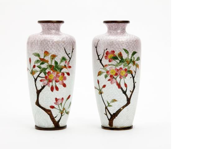 A pair of Japanese ginbari enamel cloisonne vases, signed Ota Circa 1910