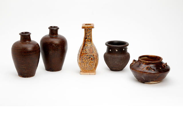 A collection of Chinese glazed earthenware items  Possibly Song Dynasty