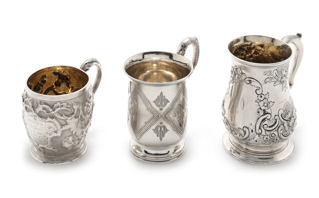A George III  silver mug by Hester Bateman London, 1778; together with four other examples  (5)