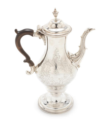 A George III silver coffee pot by Charles Aldridge & Henry Green, London 1775